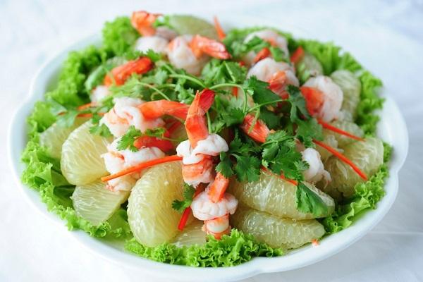 Ăn bưởi giảm mỡ bụng bằng salad