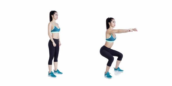 Bài tập squat giảm mỡ đùi hiệu quả