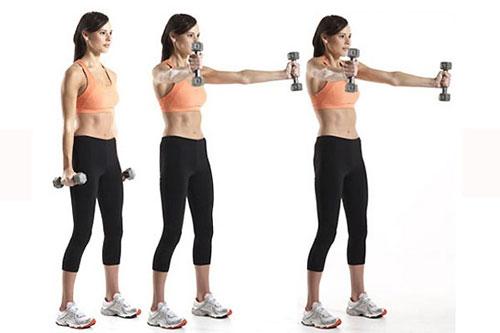 Kiên trì tập luyện với tạ hàng ngày để giảm béo vùng cánh tay