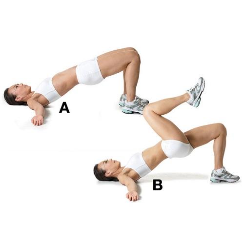 Thực hiện động tác nâng hông co gối