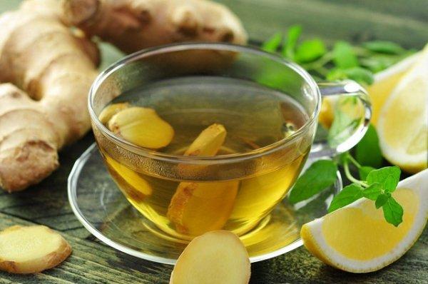 Uống trà xanh giảm mỡ bụng với gừng