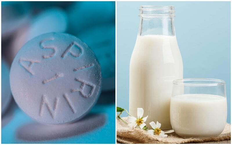 Aspirin ph8 và sữa tươi giúp cấp ẩm và dưỡng trắng da