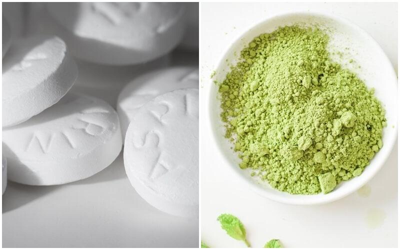 Tắm trắng toàn thân bằng Aspirin ph8 và bột trà xanh