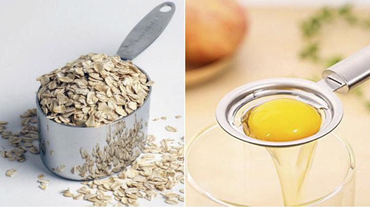 Mặt nạ trứng gà và bột yến mạch giúp da giảm thô ráp và thâm sạm
