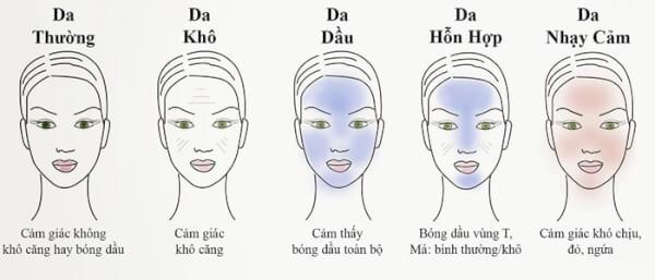 Những kiểu da mặt phổ biến hiện nay